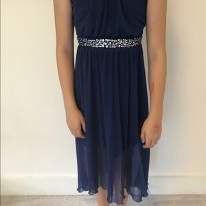 Blue with gem strip dress